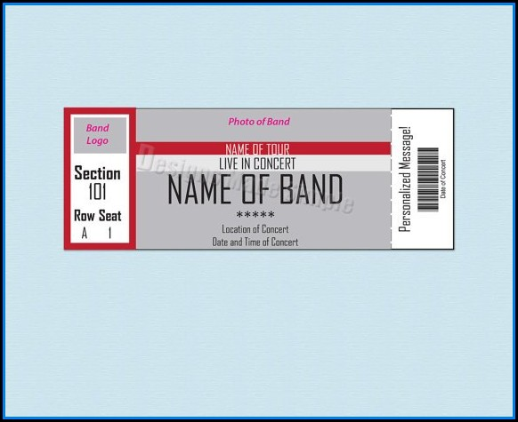 Fake Concert Ticket Template Free