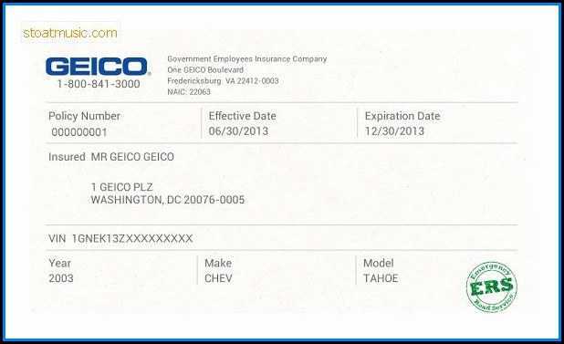 Fake Geico Insurance Card Template