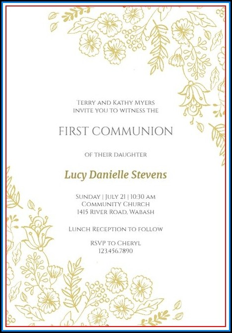 First Communion Invite Templates