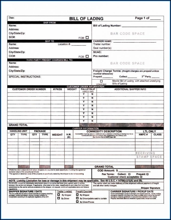 Free Bill Of Lading Form