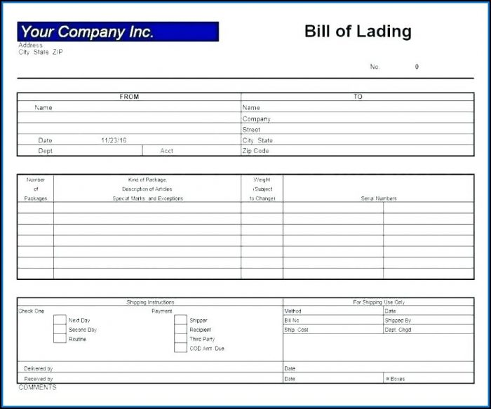 Free Bill Of Lading Template Canada