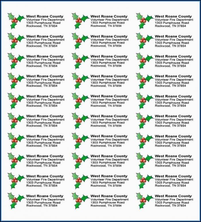 Free Christmas Return Address Label Templates 30 Per Sheet