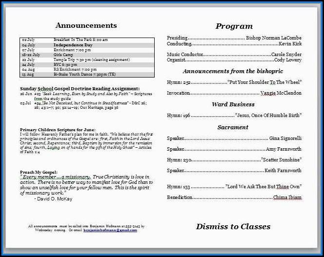 Free Church Program Template Microsoft Word
