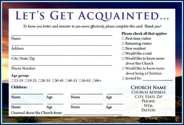Free Church Visitor Card Template Generator