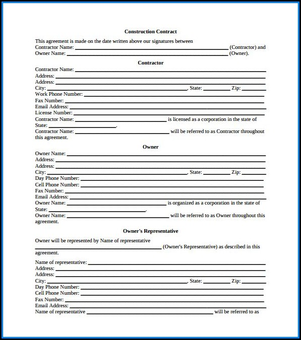 Free Construction Contract Template Pdf