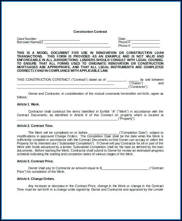 Free Construction Contract Template Word