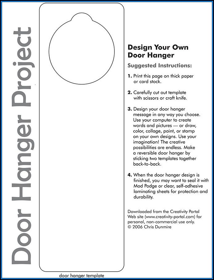 Free Door Hanger Template Word