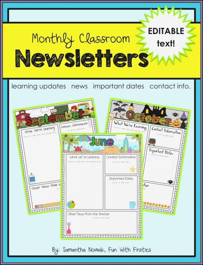 Free Editable Newsletter Templates For Kindergarten