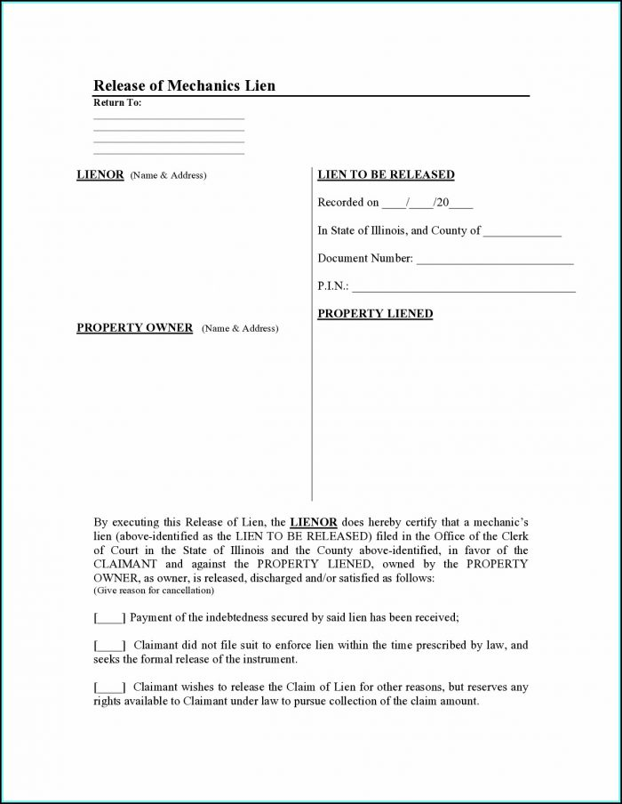Illinois Mechanics Lien Release Form