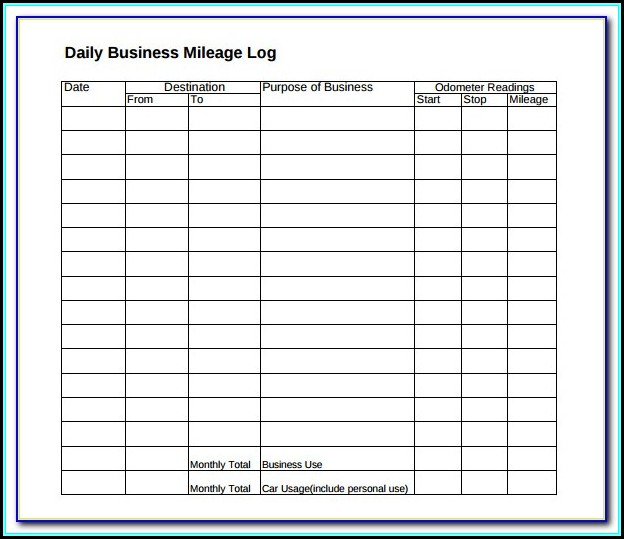 Irs Mileage Tracking Form