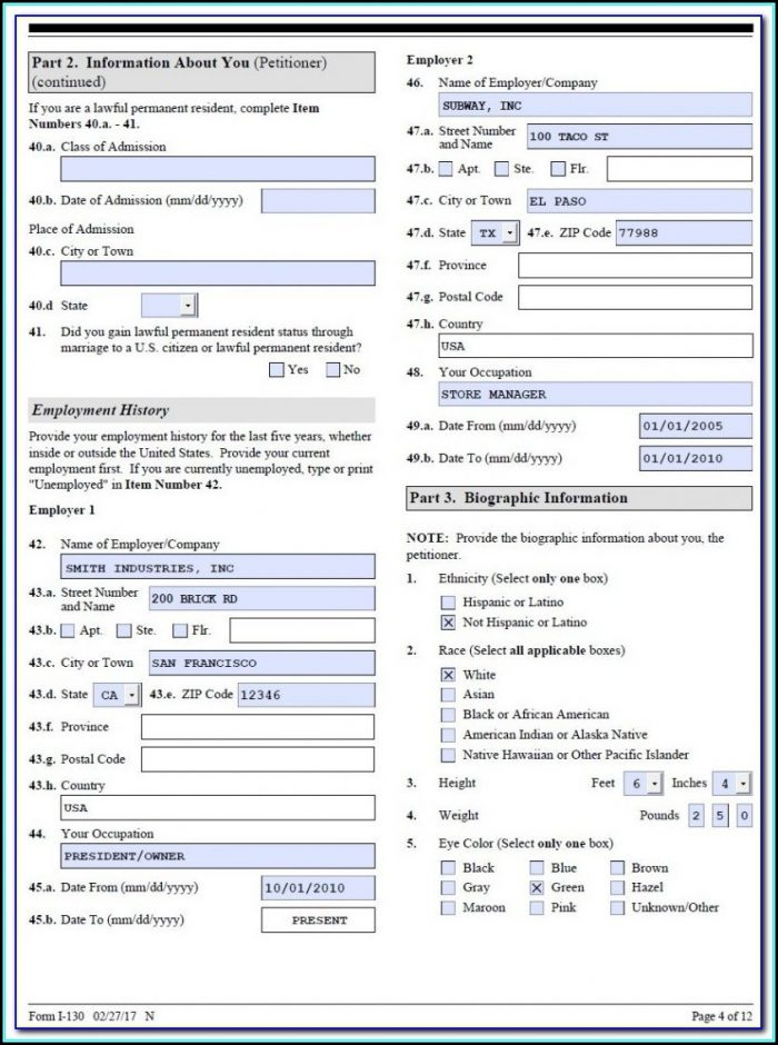 K1 Us Visa Application Form