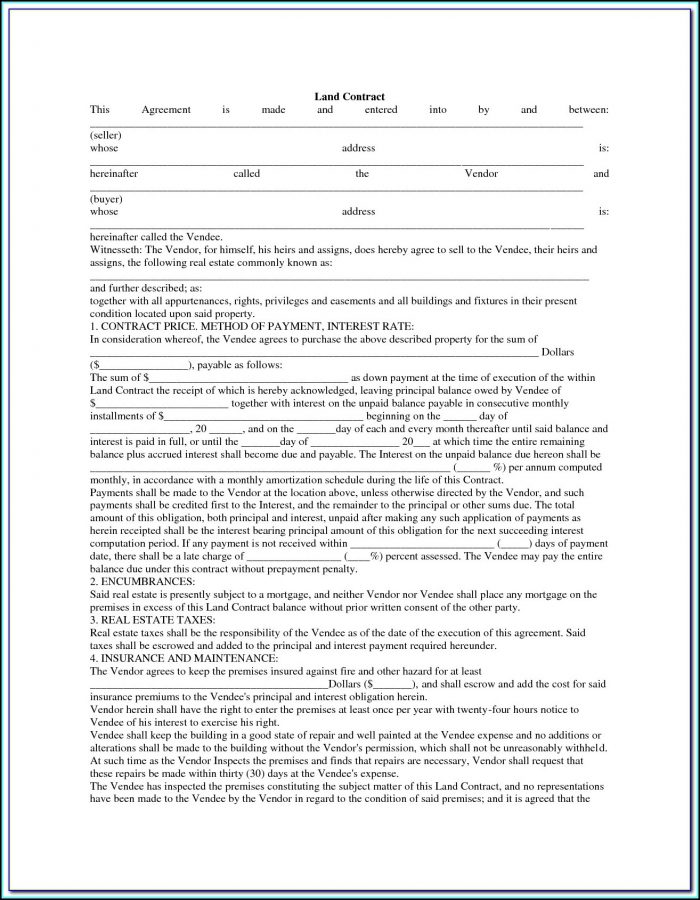 Land Contract Forfeiture Form Ohio