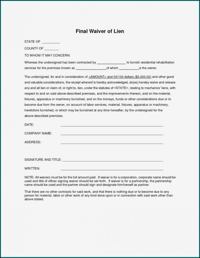 Lien Waiver Form Illinois