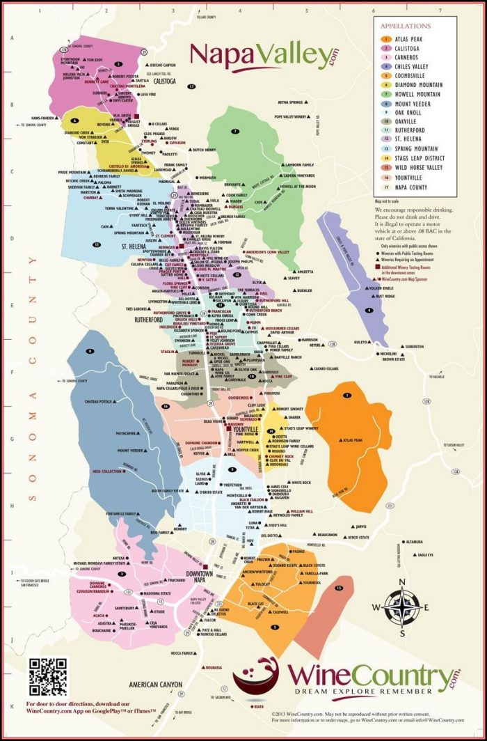 Map Napa Valley California