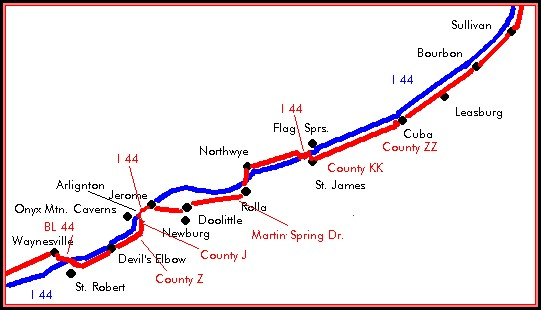 Map Of Historic Route 66 In Missouri