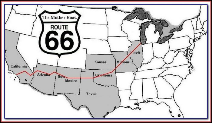 Map Of Historic Route 66 In Oklahoma