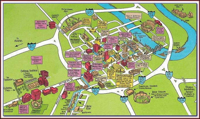 Map Of Hotels Downtown Nashville Tn