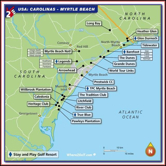 Map Of Hotels Near Myrtle Beach Boardwalk