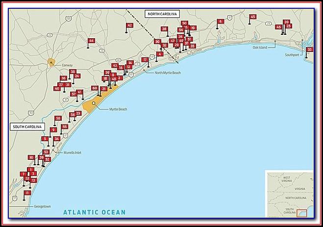 Map Of Myrtle Beach Area Golf Courses