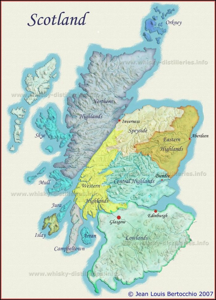 Map Of Scotch Whisky Distilleries Scotland
