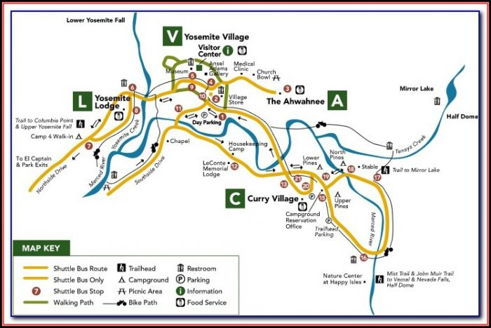 Map Of Yosemite Valley Hotels