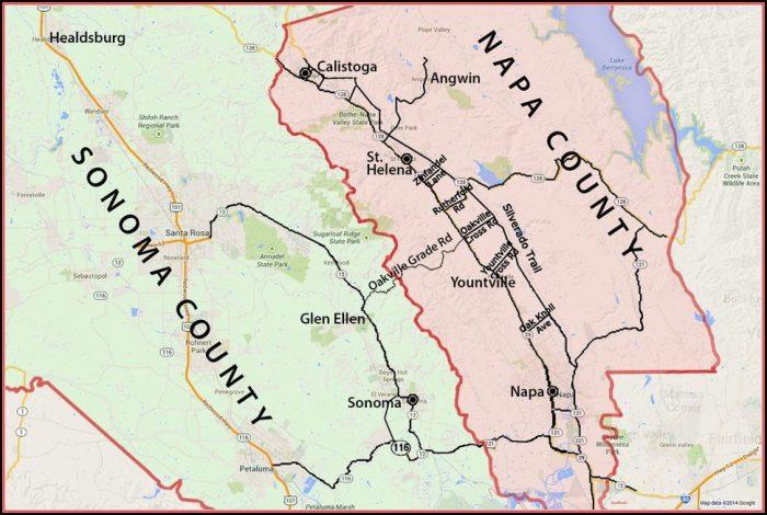 Map Sonoma Napa Valley California
