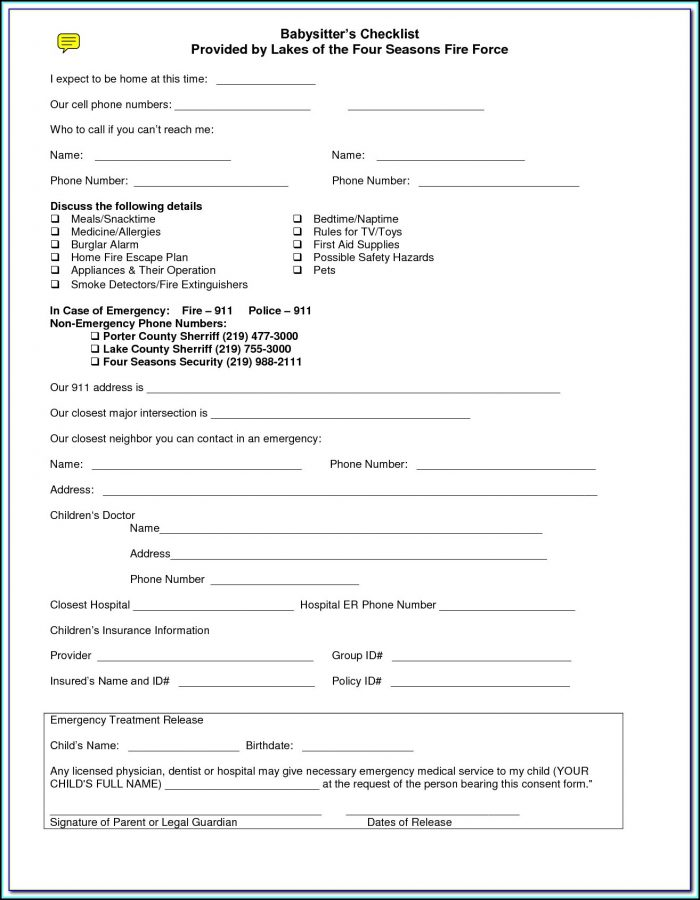 Medical Consent Form For Child While Parents Are Away
