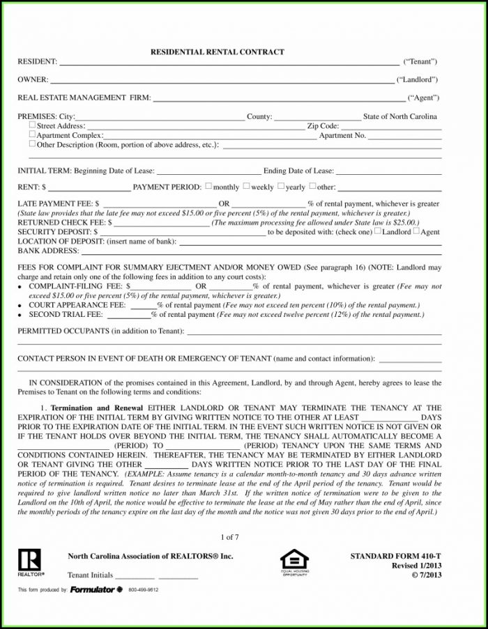 Nc Residential Rental Contract Form 410 T