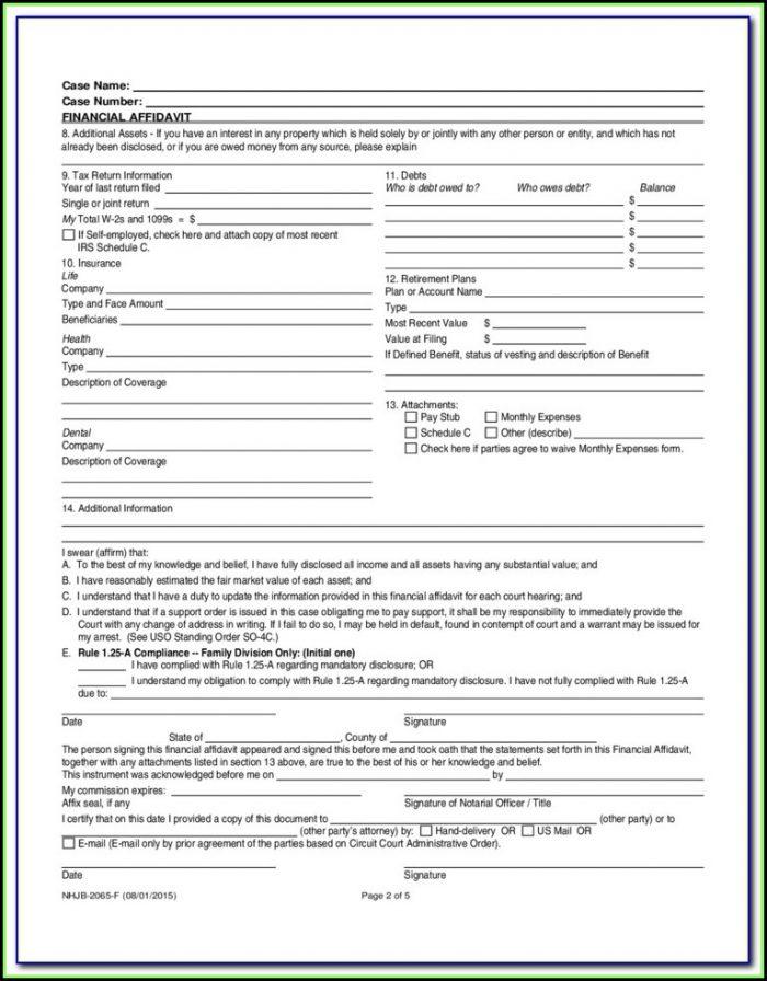 Nh Divorce Forms Financial Affidavit