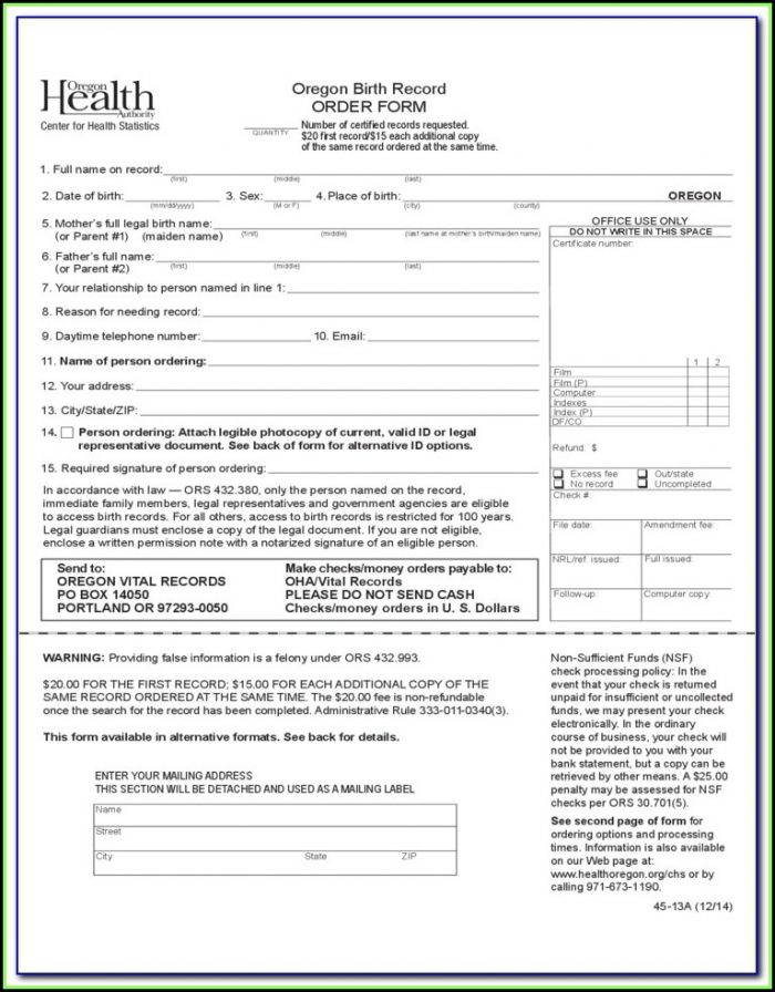 Oregon Birth Certificate Order Form