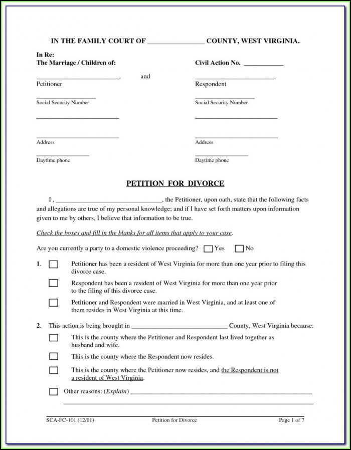 Printable Divorce Forms Nj