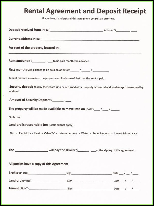 Printable Rental Agreement Form