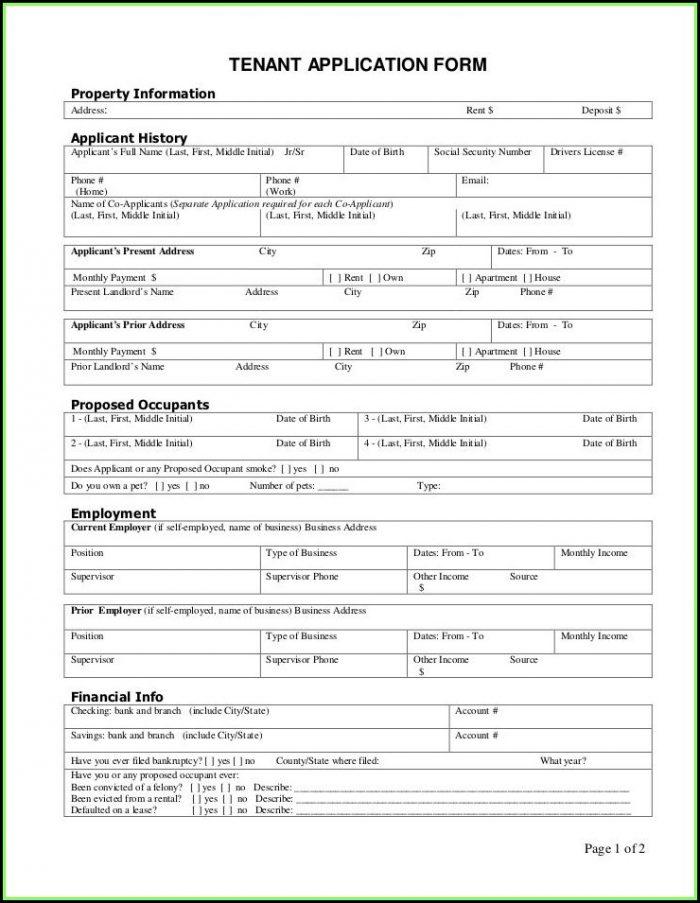 Printable Rental Application Forms