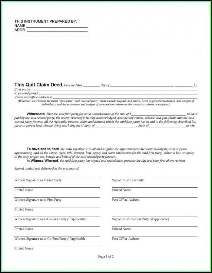 Quit Claim Deed Form Florida Pinellas County