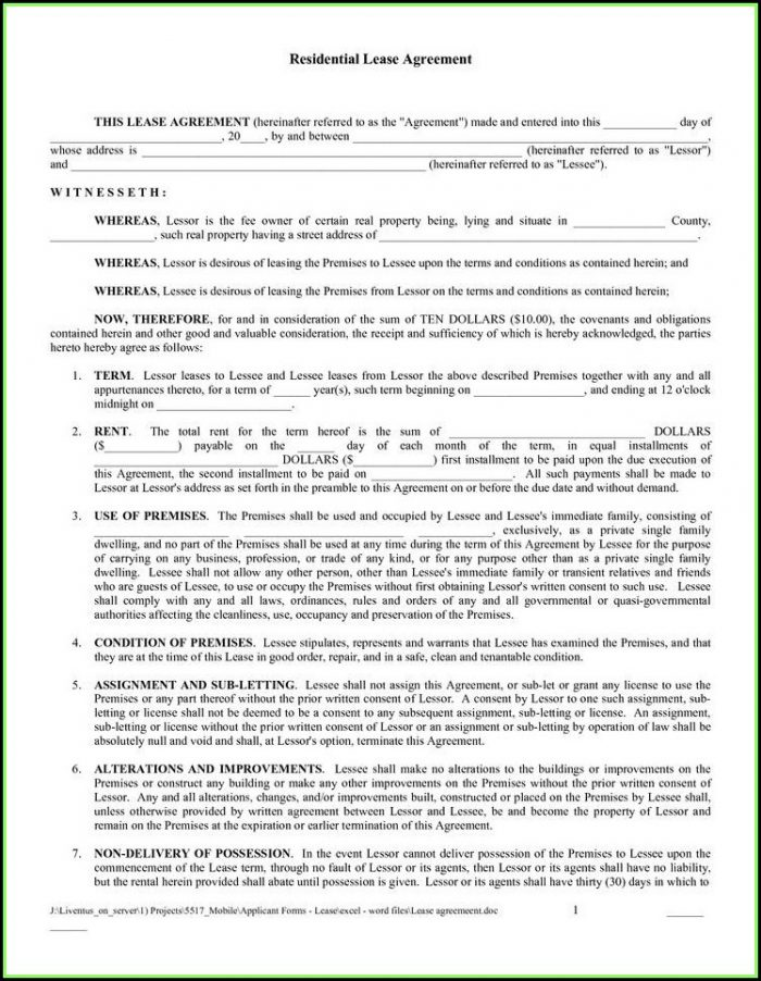 Rental Lease Forms Free Printable