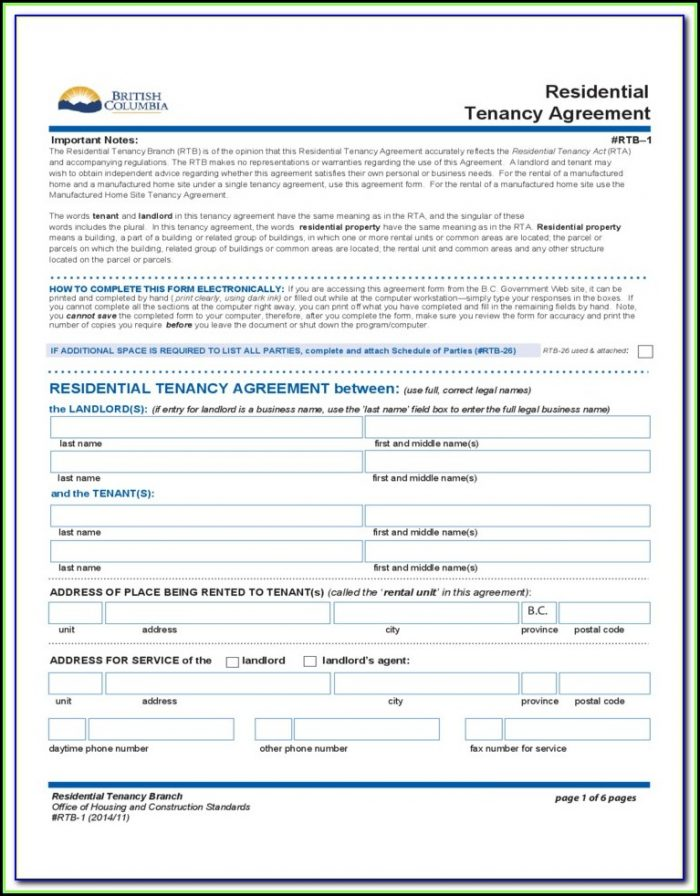 Rental Tenancy Forms Bc
