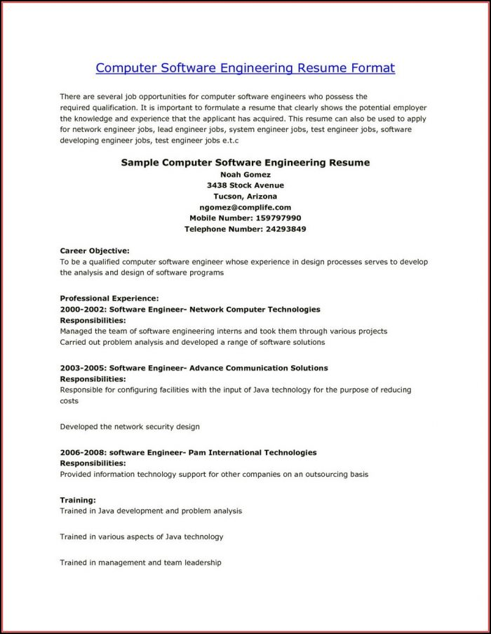 Resume Objective For Fresh Engineers