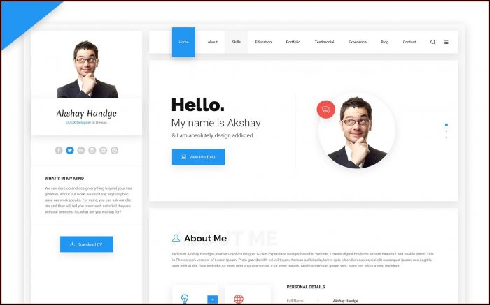Resume Portfolio Website Template