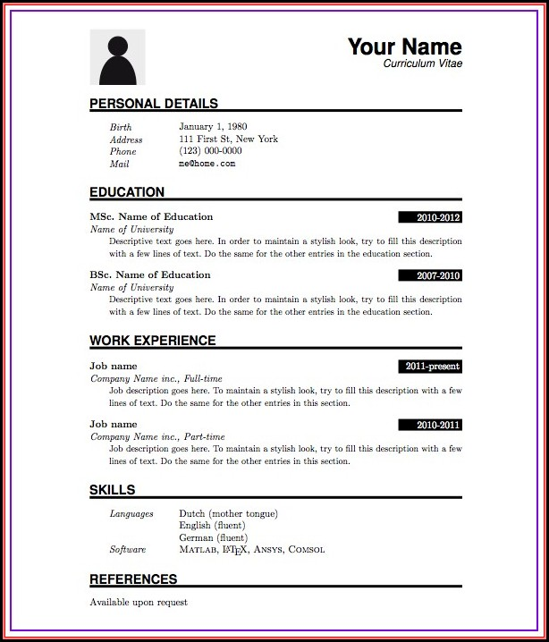 Resume Preparation Format For Freshers