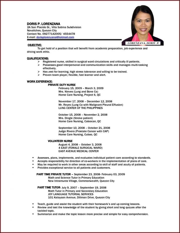 Resume Sample For Nurses Abroad