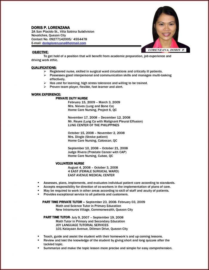 Resume Sample For Nurses Abroad