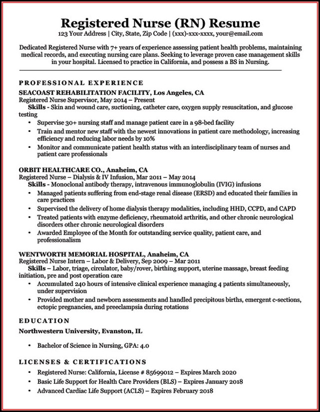 Resume Sample Rn