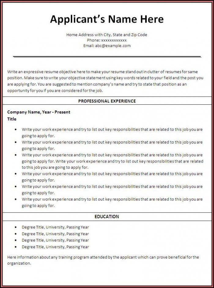 Resume Templates Word Nursing