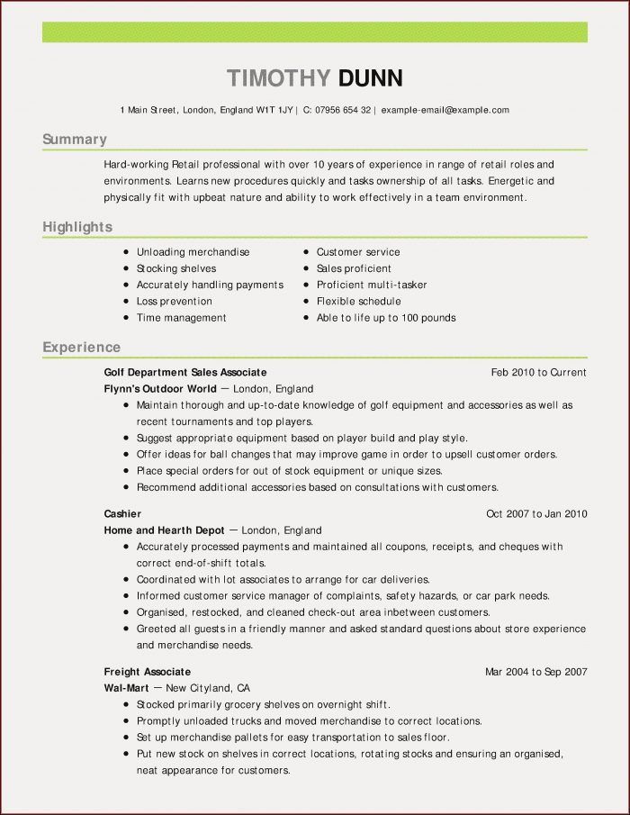 Resume Writing Format For Experienced