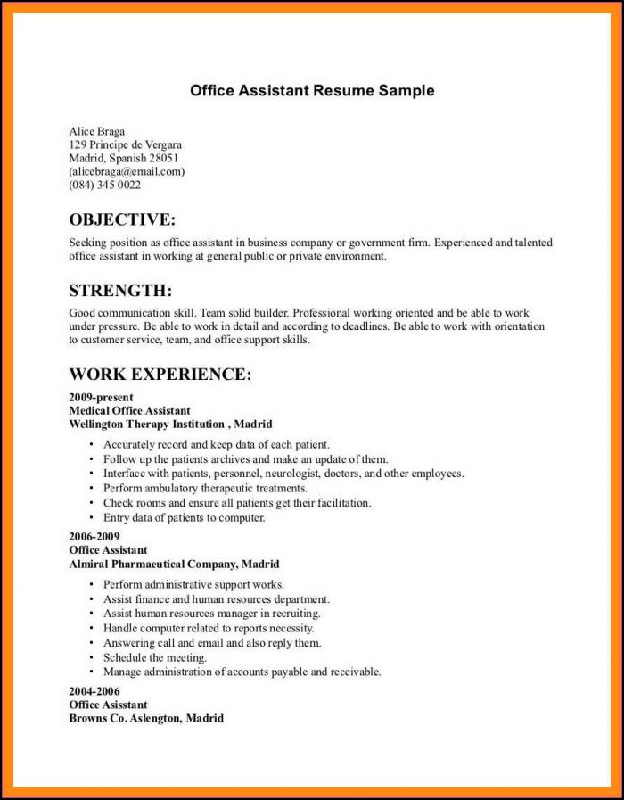Resumes Examples For Office Jobs