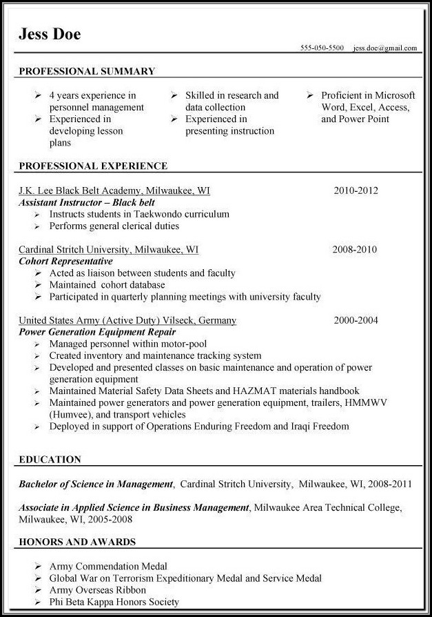 Resumes For Military Veterans
