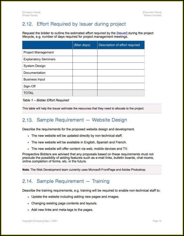 Rfp For Printing Services Template