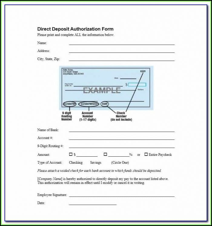 Sample Ach Deposit Authorization Form