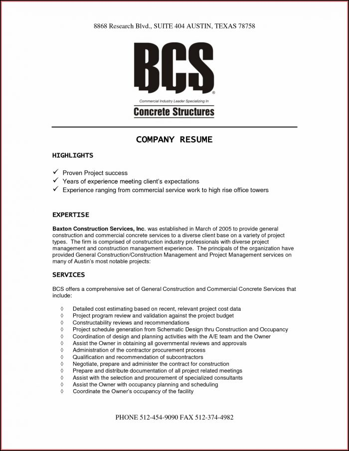 Sample Company Resume Templates
