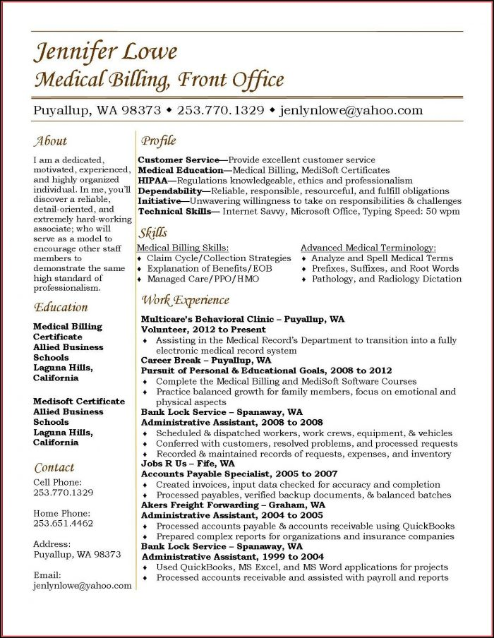 Sample Medical Billing Resume Templates